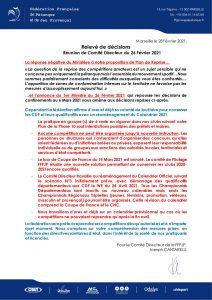 COVID 19 Relevé de décisions de la FFPJP du 27 février 2021